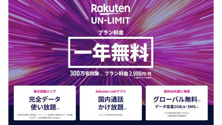 Rakuten UN-LIMIT 楽天モバイル 新プラン発表
